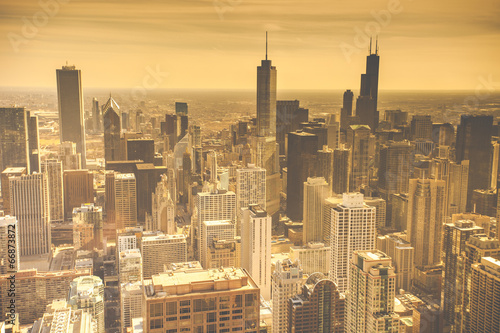Chicago Skyline Aerial View