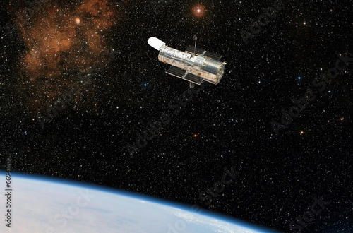 Obraz na plátne The Hubble Space Telescope observes deep space.
