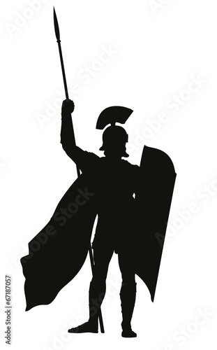 Fotografia Roman warrior with shield and spear  vector silhouette. EPS 8