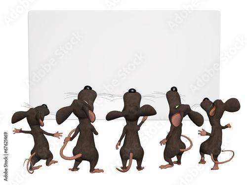 cartoon 3d mice with a blank frame