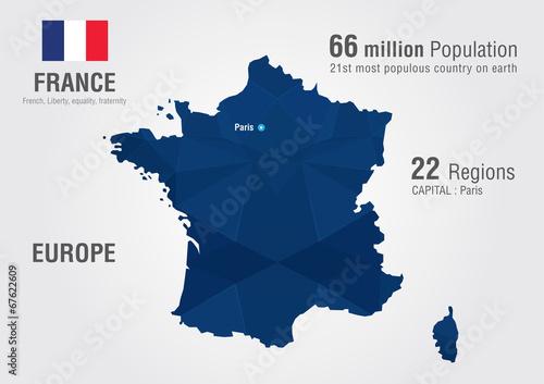 France world map with a pixel diamond texture. Fototapeta
