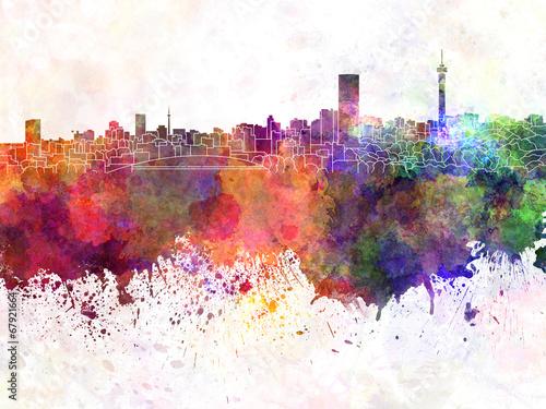 Fototapeta premium Panoramę Johannesburga w tle akwarela