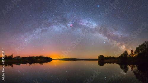 Bright Milky Way over the lake at night (panoramic photo)