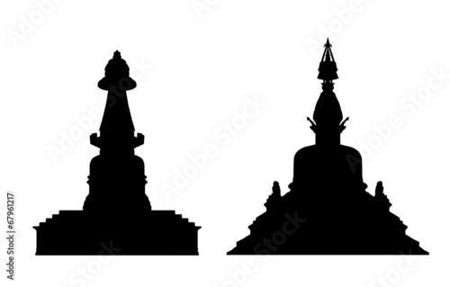 Canvas Print buddhist stupa silhouettes set 1