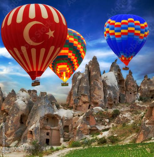 Canvas Print Hot air balloon flying mountain Hot air balloon flying mountain valley Göreme Na