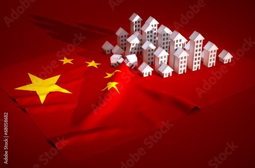 Slika na platnu 3d render illustration of china real-estate development