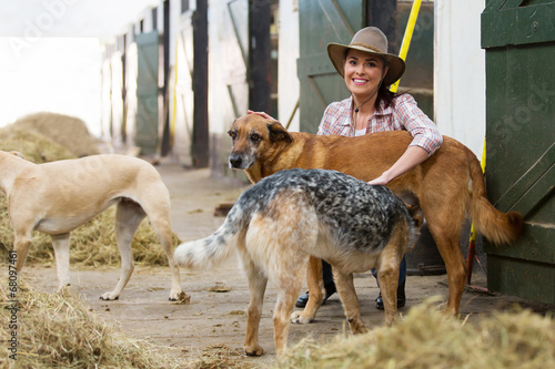 Photo female horse stables owner and dogs