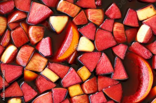 closeup of sangria fruits Fototapeta