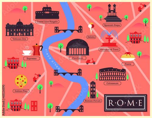 Obraz na plátně City Map Illustration of Rome