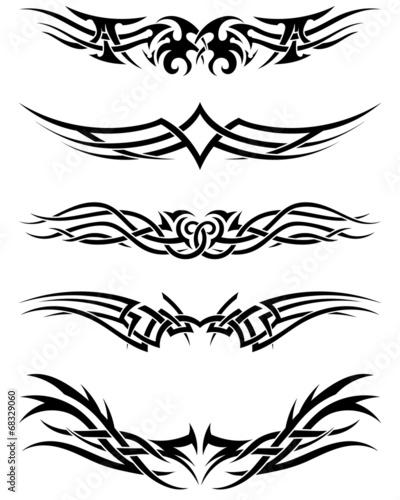 Obraz na plátně Set tribal tattoos