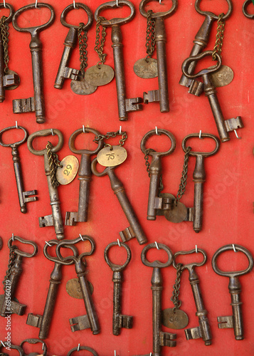 ancient rusty iron keys in an antique shop