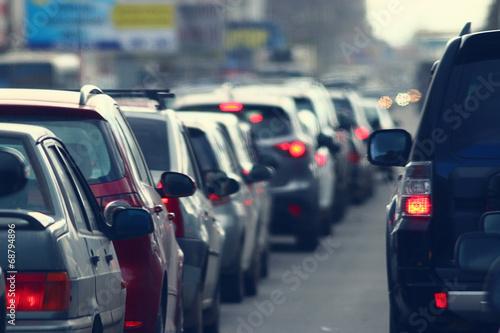 Obraz na plátně traffic jams in the city, road, rush hour