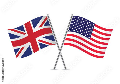 Fotografie, Obraz British and American flags. Vector illustration.