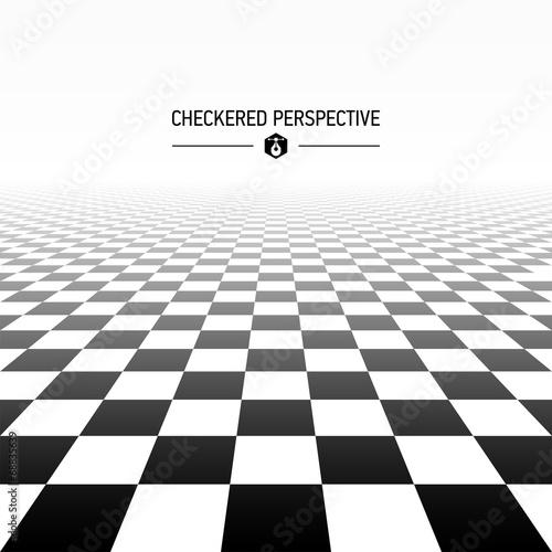 Billede på lærred Checkered perspective background