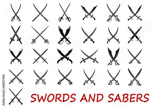 Crossed swords and sabers Fototapet