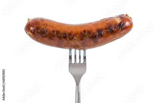 Obraz na płótnie Sausage on a Fork