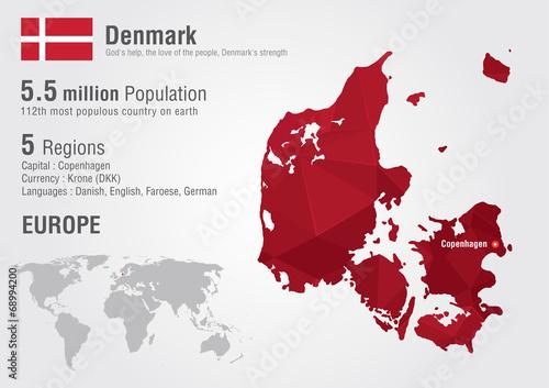 Wallpaper Mural Denmark world map with a pixel diamond texture.