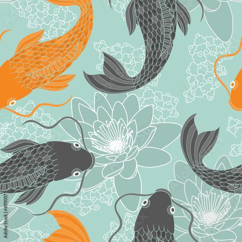 Chinese carps seamless pattern Fototapeta