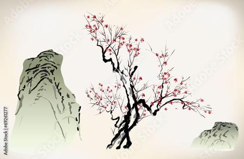 ink style blossom Fototapeta
