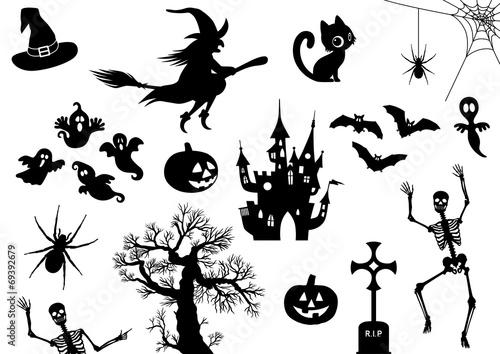 Fotografiet Halloween, Icon, Piktogramm, Set, Sammlung, Vektor, schwarz
