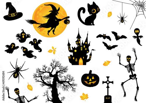 Valokuvatapetti Halloween, Icon, Sammlung, Vektor, schwarz, orange