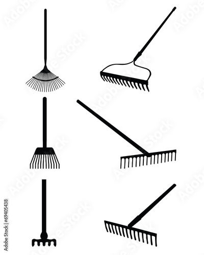 Photo Black silhouettes of rake on a white background, vector