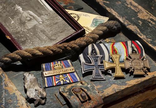 Valokuva Erster Weltkrieg WW1, 1914 - 1918, Erinnerungen Orden Front Ordensspange Iron Cr
