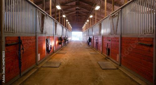 Fényképezés Center Path Through Horse Paddock Equestrian Ranch Stable