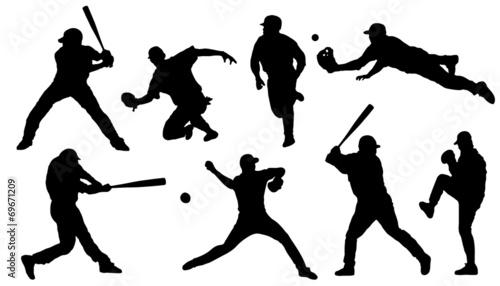 Canvas Print baseball sihouettes