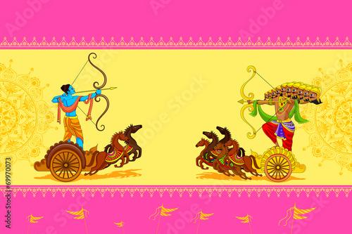 Obraz na płótnie Rama killing Ravana in Happy Dussehra