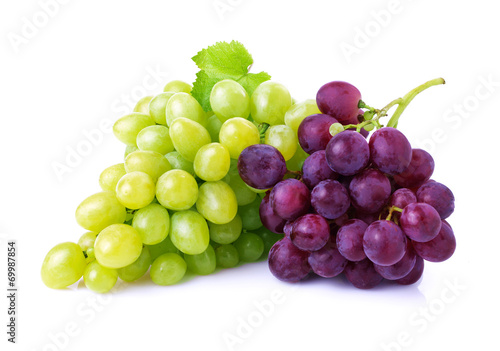 Wallpaper Mural Grapes isolated on white.