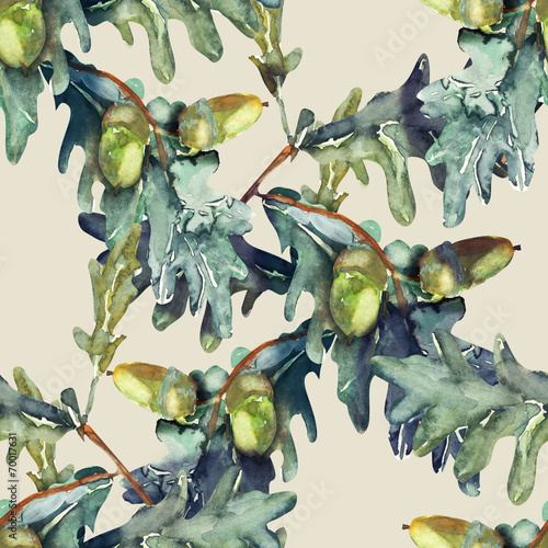 Fototapeta Quercus robur seamless pattern