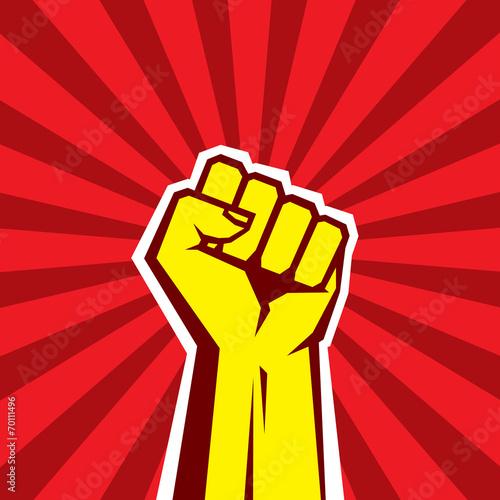 Obraz na plátně Hand Up Proletarian Revolution. Fist of revolution.