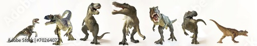 Foto A Group of Seven Dinosaurs in a Row