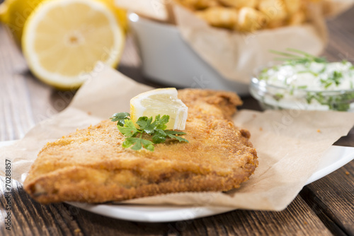 Tablou Canvas Fried Plaice with french fries