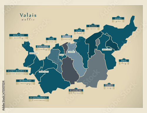 Obraz na płótnie Moderne Landkarte - Valais CH