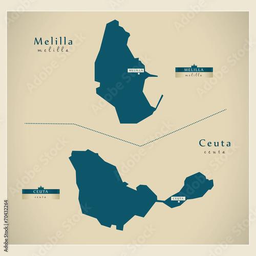 Modern map - Ceuta & Melilla ES