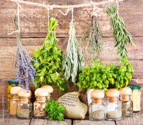 Fototapeta premium różne świeże i suszone zioła