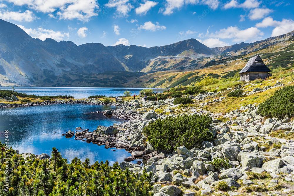 Mountain lake in 5 lakes valley in Tatra Mountains, Poland. - obrazy, fototapety, plakaty