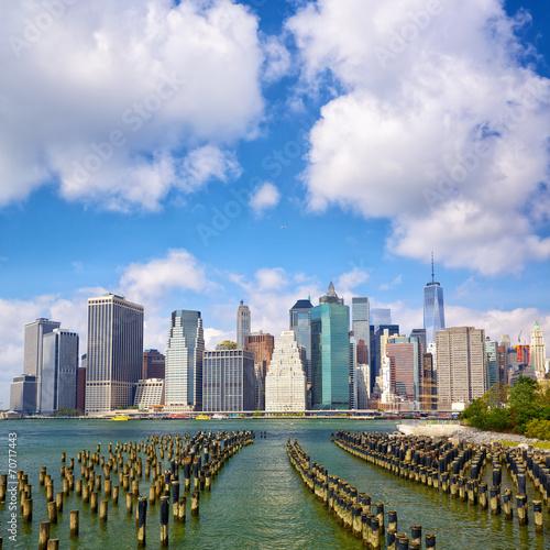 Fototapeta premium Skyline dolnego Manhattanu widziany z Brooklyn Bridge Park w Nowym Jorku