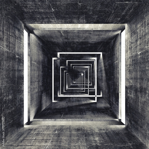 Abstract square dark concrete tunnel interior, 3d background #70723682