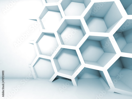 Abstract blue 3d interior with honeycomb on the wall #70724410