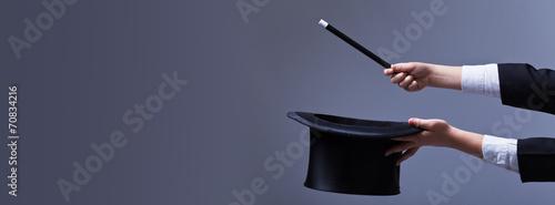 Obraz na płótnie Magician hands with hat and magic wand