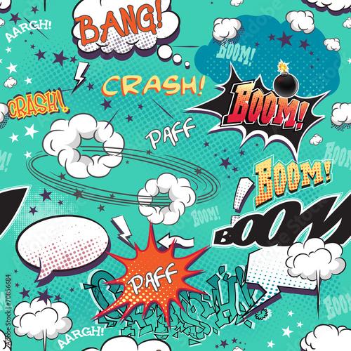 strona komiksu z bąbelkami na mowę, różne dźwięki, strzałki.