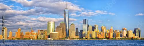 Lower Manhattan skyline panorama before sunset, New York #70959871