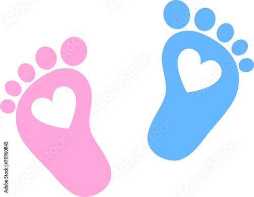 Cuadros en Lienzo Baby Feet, Footprint, Hearts