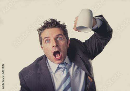 Fotografía addict businessman and cup of coffee in caffeine addiction