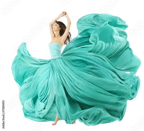 Fotografia Woman Dancing In Fashion Dress, Fabric Cloth Waving On Wind