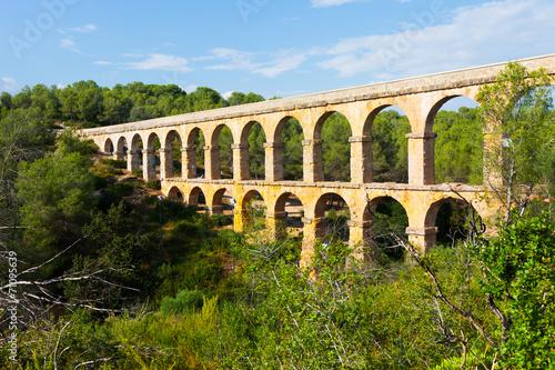 Fotografiet Antique roman aqueduct in  forest. Tarragona