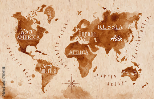 Canvas-taulu World map map retro